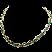 MAZER 1940s Faux Emerald Diamond Rhinestone Necklace