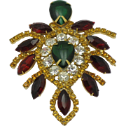 Large JULIANA D&E Emerald Cabochon Ruby Red and Amber Rhinestone Brooch