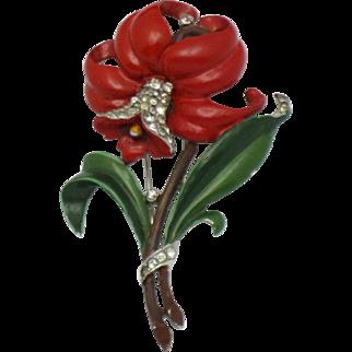 CROWN TRIFARI Philippe Vintage 1940s Red Enamel Rhinestone Daffodil Fur Clip Pin