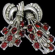 Vintage STARET Red Cabochon Rhinestone Rhodium Plated Brooch