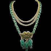 Oriental Chinese Peking Glass BAT Pendant Necklace