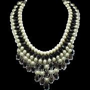Vintage Japan Black Glass Bead Faux Pearl Fringe Bib Necklace