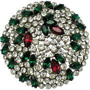CROWN TRIFARI  Faux Ruby Emerald Diamond Rhinestone Brooch Pin