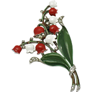 CROWN TRIFARI Philippe 1940 Lilies Of The Valley Fur Clip Brooch Pin