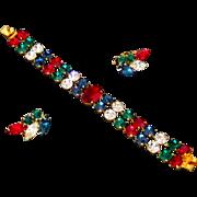 Vintage 1950s Ruby Sapphire Emerald Rhinestone Bracelet Earring Set