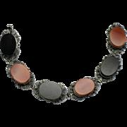 Antique 800 SILVER  Filigree Black Onyx Carnelian Bracelet