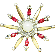 MAZER STERLING Vermeil 1940s Rhinestone Snowflake Star Brooch