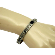 Sapphire and Sterling Filigree  Bracelet by GRANBERY Circa 1920s