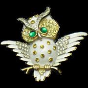 CROWN TRIFARI Vintage 1960s Horned Owl Figural Brooch
