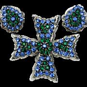 WEISS Maltese CrossSapphire Emerald Rhinestone  Brooch Earring SET
