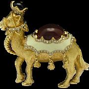 Rare CINER Vintage Textured Gold Plated Rhinestone Camel Figural Brooch