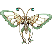 Huge Rare 1940s NETTIE ROSENSTEIN Sterling Gold Plated  Butterfly Clip Pin