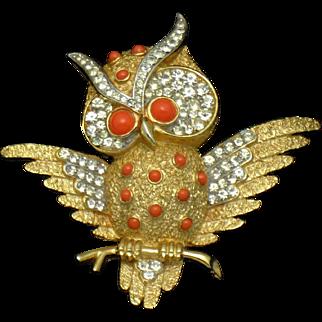 TRIFARI Rhinestone Coral Horned Owl Figural Brooch
