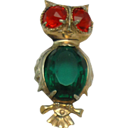 Sterling Vintage 1940s Glass Belly  Owl Figural Brooch Pin