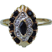 10k Yellow Gold  Marquise Genuine Blue Sapphire Cluster Ring with 6 Diamonds