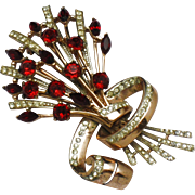 COROCRAFT Sterling Ruby Garnet Rhinestone Floral Bouquet Brooch 1944