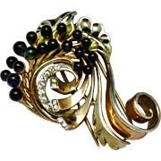 DE ROSA STERLING Gold Plated Glass Bead Rhinestone Fur Clip Pin