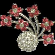 PENNINO Vintage Pink Fuchsia Rhodium Plated Rhinestone Flower Bouquet Brooch