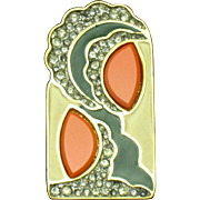 JOMAZ Stylized Abstract Enamel Rhinestone Lucite Face Brooch