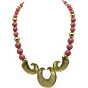 Signed NAPIER Coral Salmon  Beaded Choker Necklace