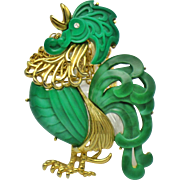 HATTIE CARNEGIE Green Thermoplastic  Rooster Brooch & Pendant Necklace With Chain