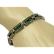 925 Sterling Silver Marcasite Emerald Paste Panel Bracelet ART DECO