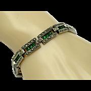 925 Sterling Silver Marcasite Emerald Paste Panel Bracelet ART DECO