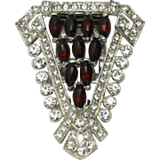 Early CORO First Mark Red Crystal Diamante Rhodium Dress Clip