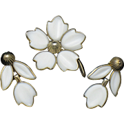 TRIFARI  White Poured Glass Dogwood Brooch and Earrings SET Vintage 1950s