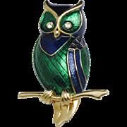 BOUCHER Blue Emerald Metallic Enamel Rhinestone  Owl Figural Brooch Pin