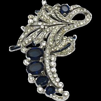 TRIFARI Philippe Vintage 1940 Rhinestone Enamel Pin Fur Clip
