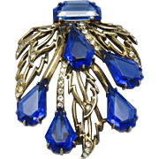 EISENBERG STERLING Gold Plated Sapphire Kite Shaped Flower Floral Fur Clip Pin
