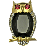 MAZER Sterling Glass Belly Horned Owl Clip Pin Vintage 1940s