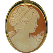 14K Yellow Gold  ITALY Carved Shell Cameo Brooch & Pendant