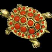 Vintage CINER Coral Cabochon  Turtle Figural Brooch