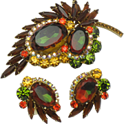 DeLizza & Elster Juliana  Watermelon Heliotrope Brooch Earring SET - BK PC