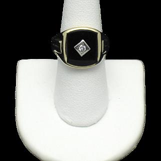 10K Yellow Gold Mens Vintage Black Onyx & Diamond Ring Sz 9.75