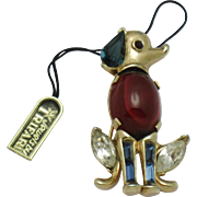 CROWN TRIFARI Alfred Philippe Ruby Cabochon Pat Pend Sitting Dog Pin Brooch Original Tag