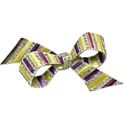 Early MB BOUCHER  Metallic Enamel Rhinestone Bow Brooch Pin