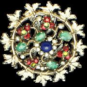NETTIE ROSENSTEIN Sterling Gold Plated Enamel Glass Fur Clip Pin