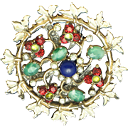 NETTIE ROSENSTEIN Sterling Gold Plated Enamel Glass Fur Clip Pin