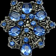 Art Deco Blue Open Back Glass Crystal White Metal Dress Clip Pin