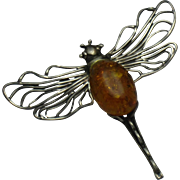 Sterling Silver 925 Fossilized Baltic Amber Figural Dragonfly Brooch