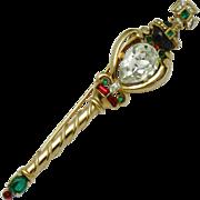 CROWN TRIFARI Coronation Gems Scepter Brooch Pin 1953 Book Piece