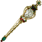 CROWN TRIFARI Coronation Gems Scepter Brooch Pin 1953 Book Piece