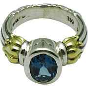 LAGOS CAVIAR 18K Yellow Gold and Sterling Silver Blue Topaz Gemstone Ring - Red Tag Sale Item