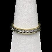 Vintage 14K Yellow Gold Half Eternity Diamond Ring