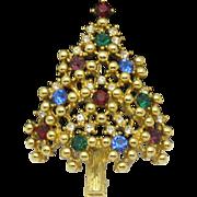 Classic EISENBERG 1950s Rhinestone Christmas Tree Brooch Pin