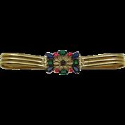 Signed SCHREINER NY Rhinestone Filigree Gold Plated Triple Flexible Belt RARE