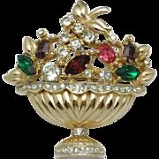 CORO  Vintage 1947 'Fragrance' Flower Basket Pin Brooch
